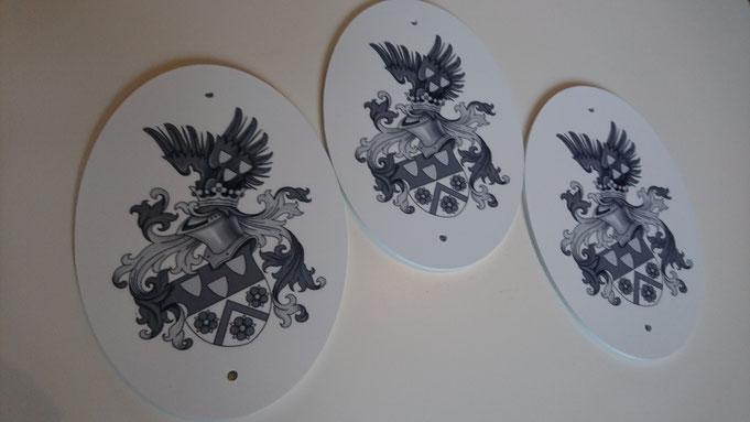 Familienwappen auf Türschilder, Namensschilder
