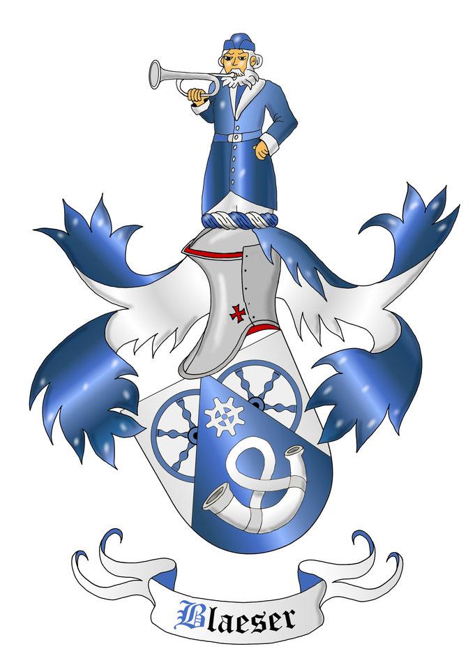 Redendes Wappen Blau-Silber, plastisch