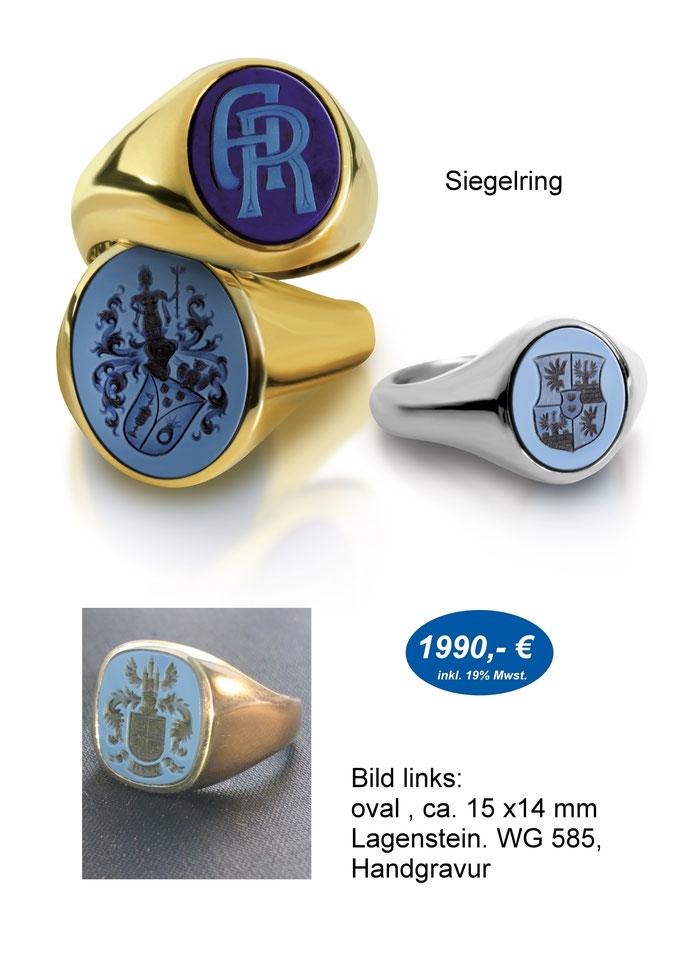 Wappenring, Siegelring mit Wappen Gravur
