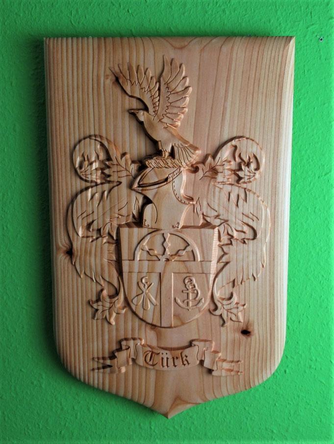 Holzwappen, gefräst, Wappen aus Holz +3D Datei