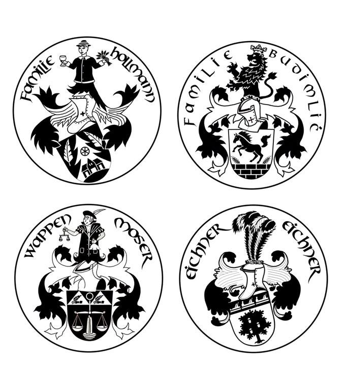 Wappen Stempel erstellen lassen, Familienwappen zeichnen lassen