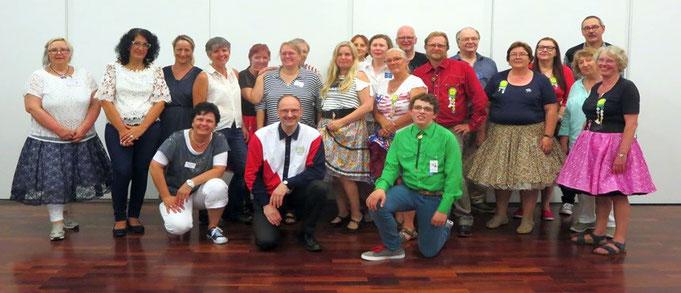 Hammer Square Dance Club Heessen mit Caller Michael Franz, auch dabei: Tänzerinnen und Tänzer benachbarter Clubs