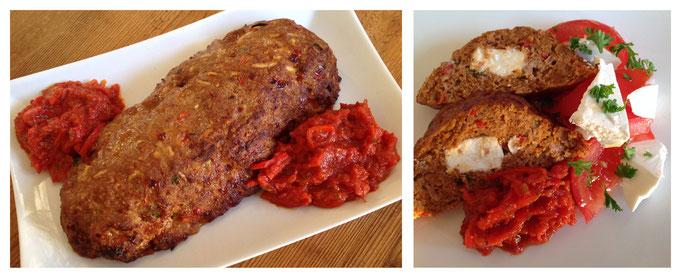 Gehaktbrood met feta en tomaten-paprikasaus.
