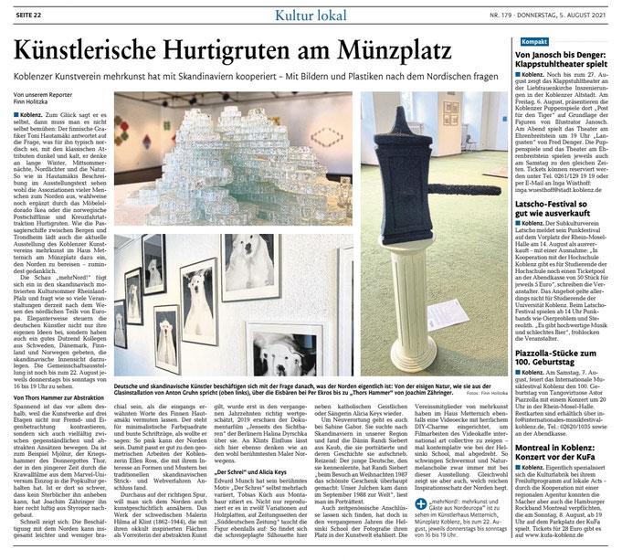 Die Rhein-Zeitung über die Ausstellung mehrnord! im Haus Metternich 2021