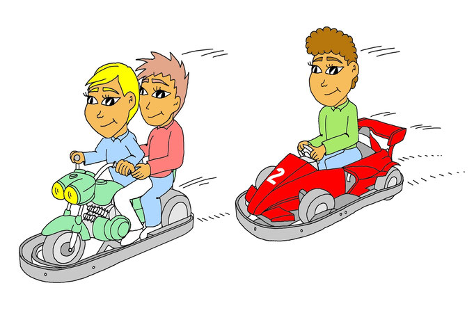 Autoscooter fahren, Karikatur, richtig