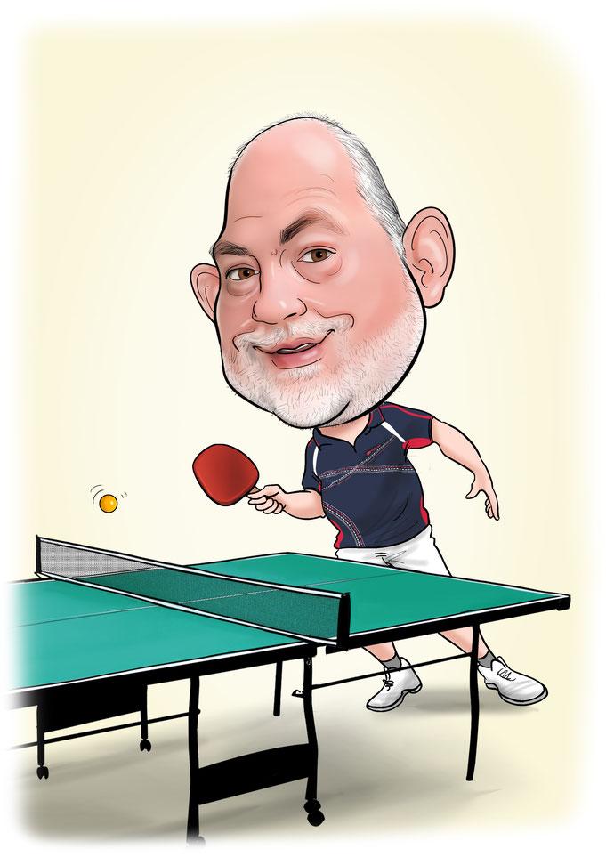Karikatur vom Foto Tischtennis