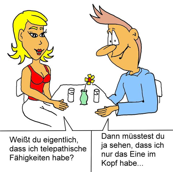 Karikatur erstes Date, Dating, Singlebörsen, Singles