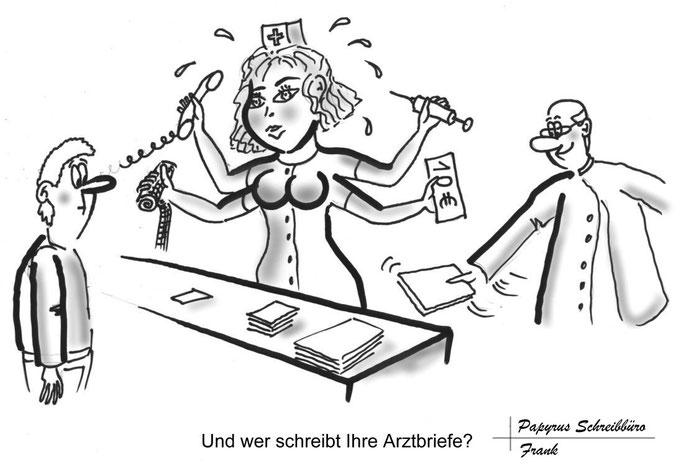 Zeitungs Anzeige erstellen lassen, Karikatur Arzthelferin