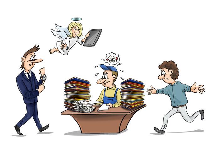 Werbung Karikatur für Schreibbüro, Schreibarbeiten