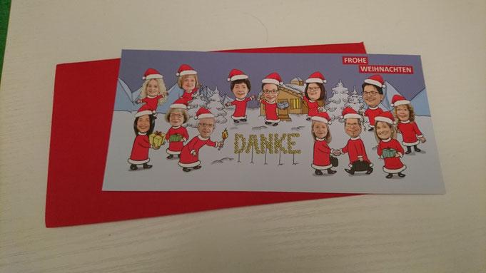 Weihnachtskarte -Danksagung, Karte, Einladungskarte mit Karikaturen vom Foto