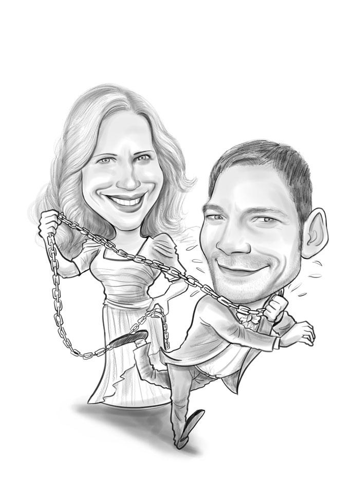 Karikatur vom Foto Hochzeit