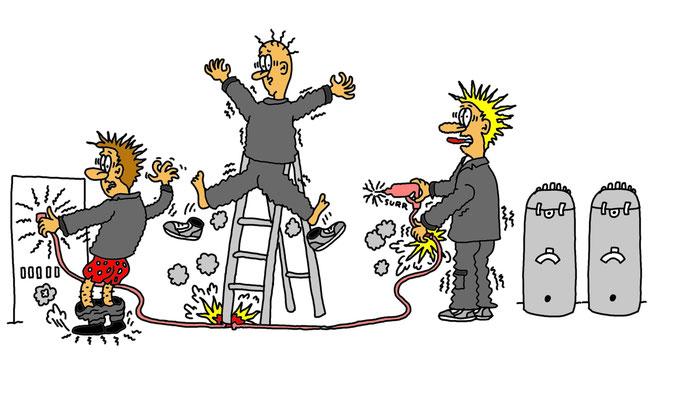 Karikatur Arbeitssicherheit Elektrik, Strom