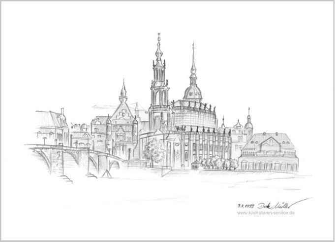 Dresden Silhouette, Bleistift Zeichnung