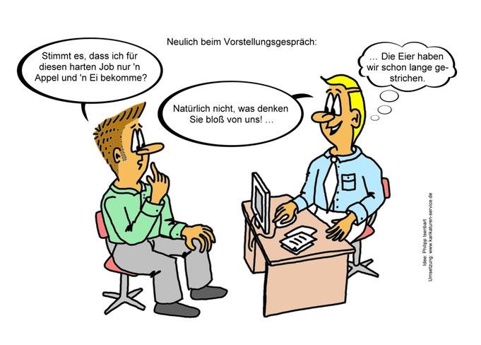 Karikatur prekäre Arbeit, Beschäftigung, Kündigung, Arbeiten fürn Appel und Ei