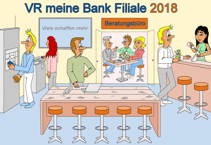 Karikatur Bank moderne Filiale, Auftragsarbeit