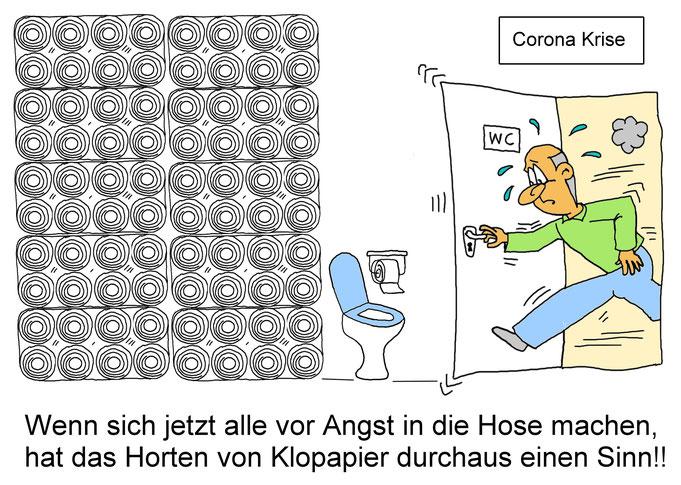Karikatur Klopapier Corona, Hamsterkäufe, Ausgangssperre