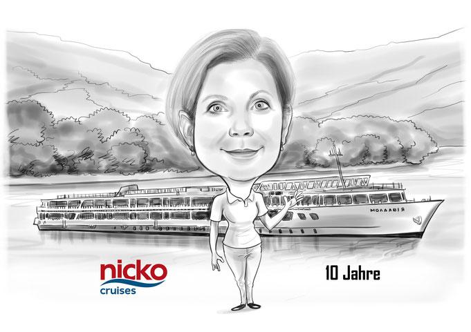 Karikatur vom Foto Jubiläum, Jahrestag