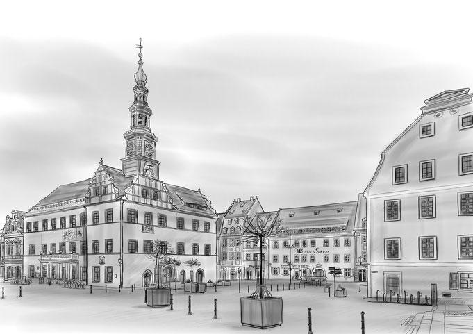 Zeichnung, Bleistift, Marktplatz Pirna