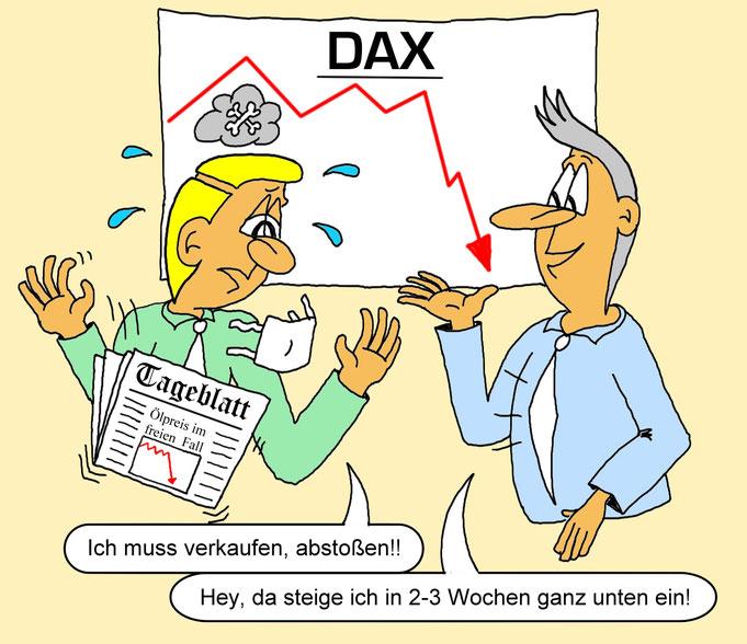 Karikatur Corona Krise, Dax, Ölpreis