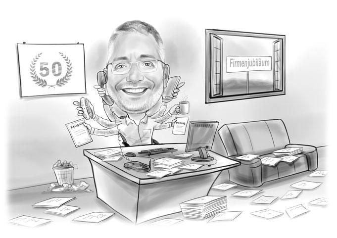 Firmenjubiläum Karikatur vom Foto, Büro, Chef