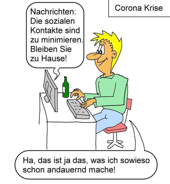 Karikaturen Corona, Coronaviris lustiges, Soziale Kontakte