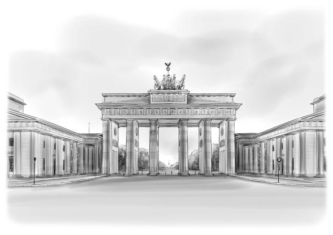Berlin, Brandenburger Tor, Bleistiftzeichnung, Bleistift