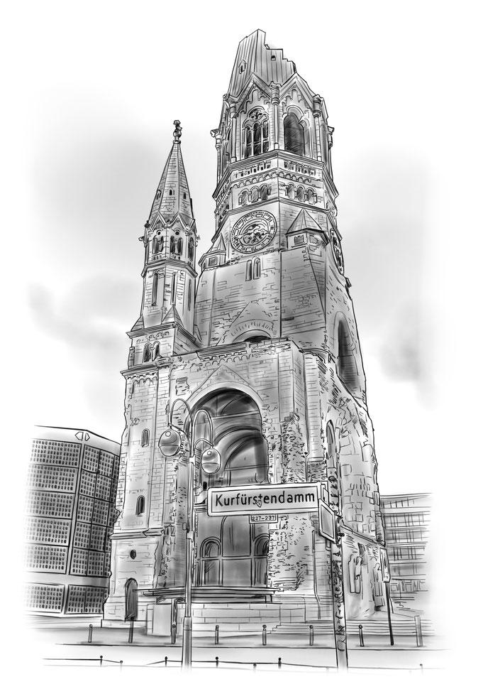 Berlin Kaiser Wilhelm Gedächtniskirche Bleistiftzeichnung, Bleistift