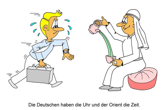 Karikatur Zeit, Comic, Cartoon Uhr, in Deutschland, im Orient