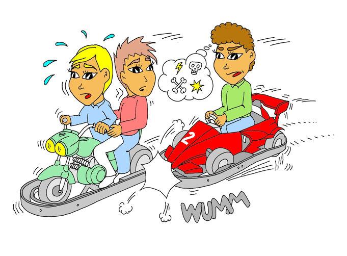 Autoscooter fahren, Karikatur, falsch