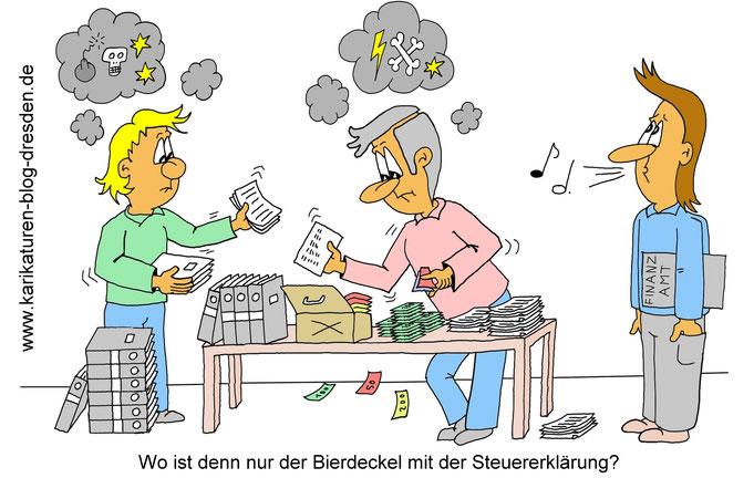 Karikatur Finanzamt - Steuererklärung, Bierdeckel