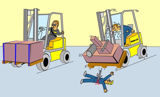 Karikatur Gabelstapler, Logistik, Arbeitssicherheit