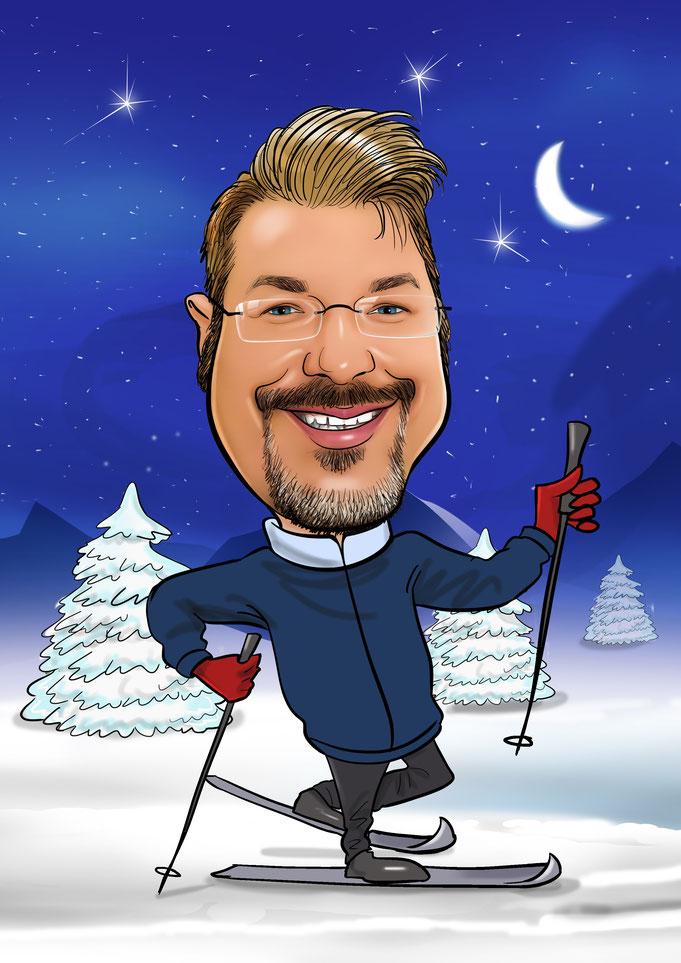 Karikatur vom Foto, Ski fahren, Wintersport, Langlauf