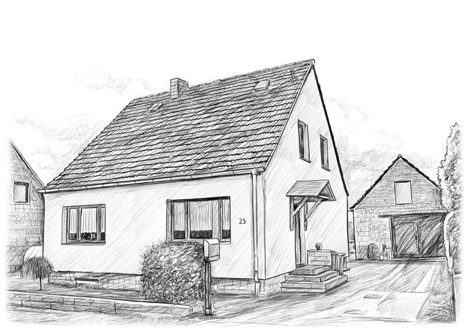 Haus zeichnen lassen, Bleistiftzeichnung