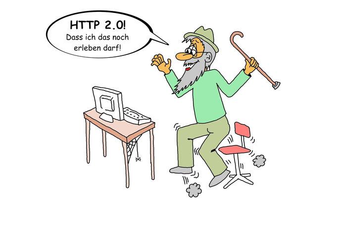 Karikatur HTTP, Webdesign, Internet, Programmierer