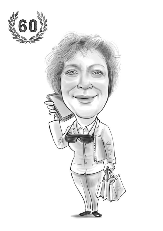 Karikatur vom Foto, 60ster Geburtstag, Geschenk