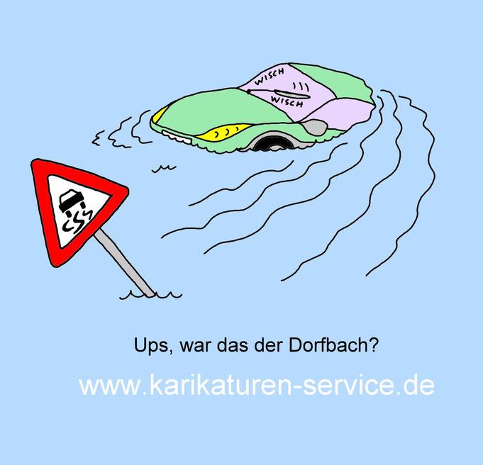 Karikatur Hochwasser, Elbe, Rhein, Oder, Spree