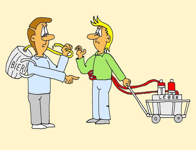 Karikatur Leber, Leberzirrhose, Fettleber, Bier, Bierfass, Alkoholiker
