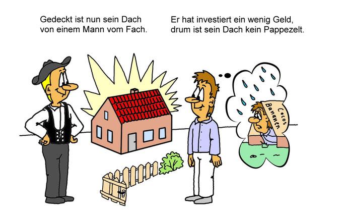 Karikatur Dachdecker