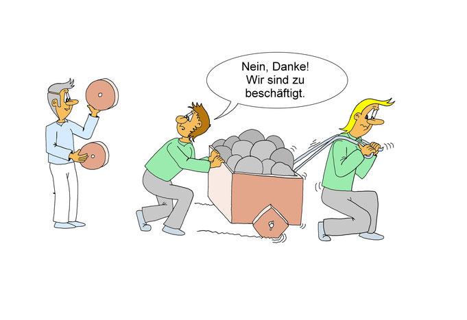 Karikatur Rationalisierungsmaßnahmen, Arbeitserleichterung