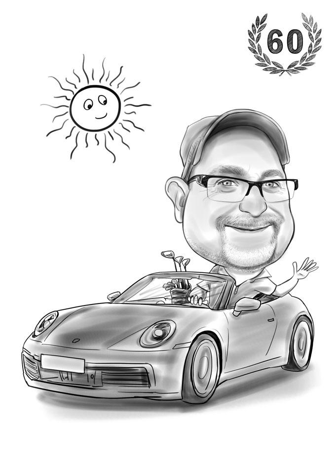 Karikatur vom Foto als 60. Geburtstagsgeschenk