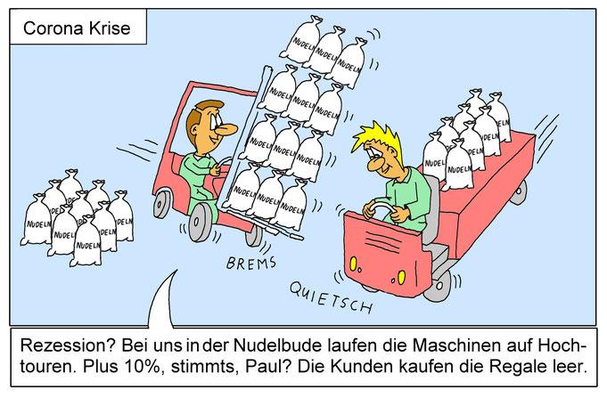 Karikatur Corona Hamsterkäufe, Rezession, Wirtschaftskrise, Nudeln