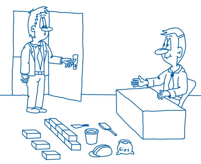 Karikatur Bewerbungsgespräch Maurer, Bau