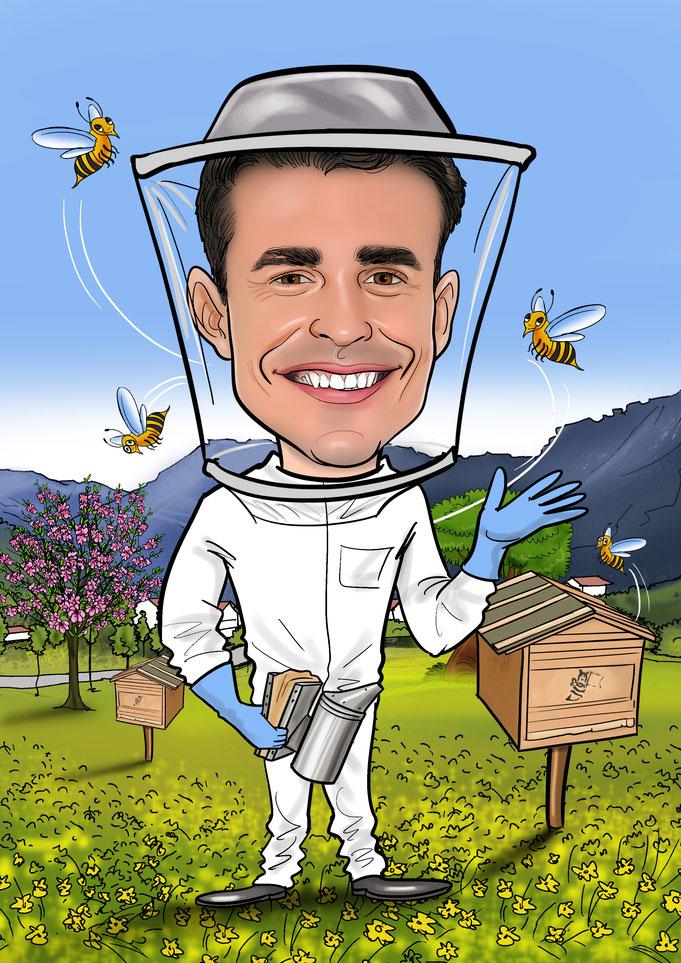 Karikatur vom Foto, Imker, Bienen
