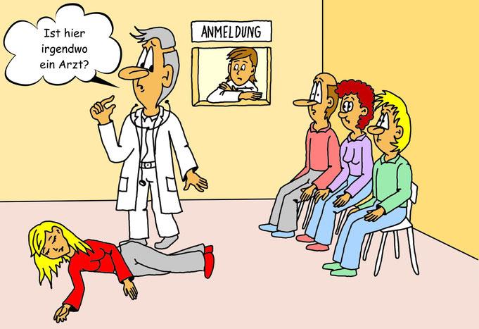 Karikatur Arzt Praxis, Wartezimmer