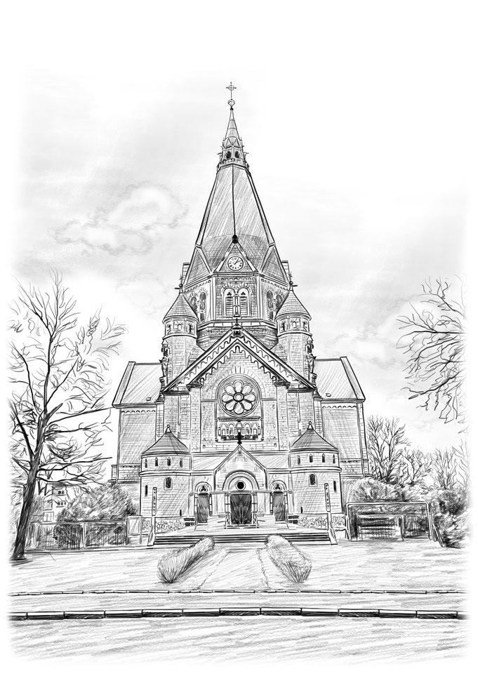 Trinitatiskirche Riesa, Bleistiftzeichnung, Bleistift Zeichnung