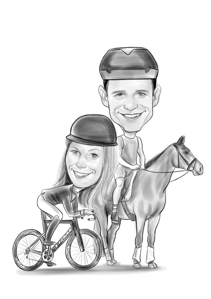 Karikatur vom Foto, Paar mit Pferd, Fahrrad