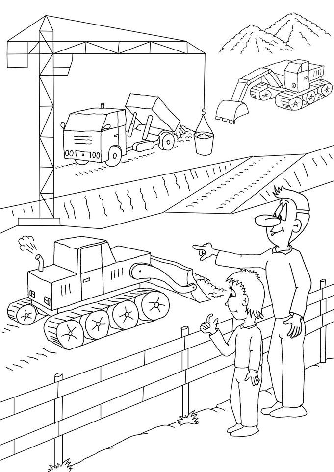 Malbuch, Ausmalbilder, Stvo, Schule, Straßenverkehr, Karikatur Baustelle