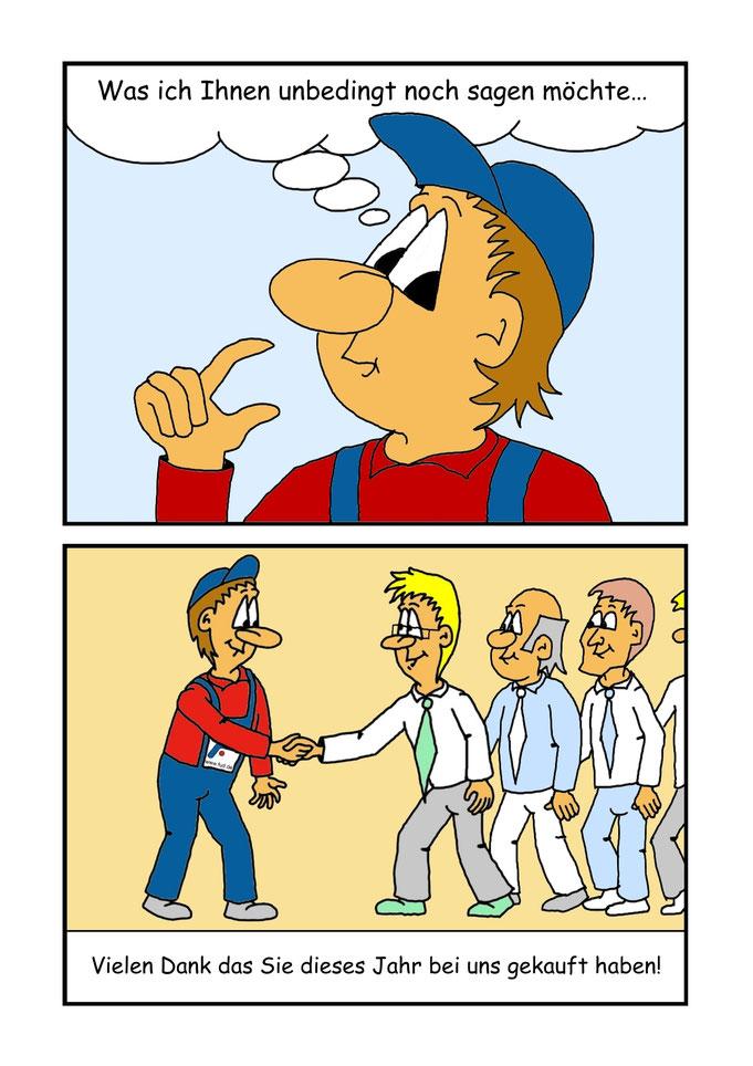 Auszug aus Comicheft, Auftragsarbeit für eine Firma