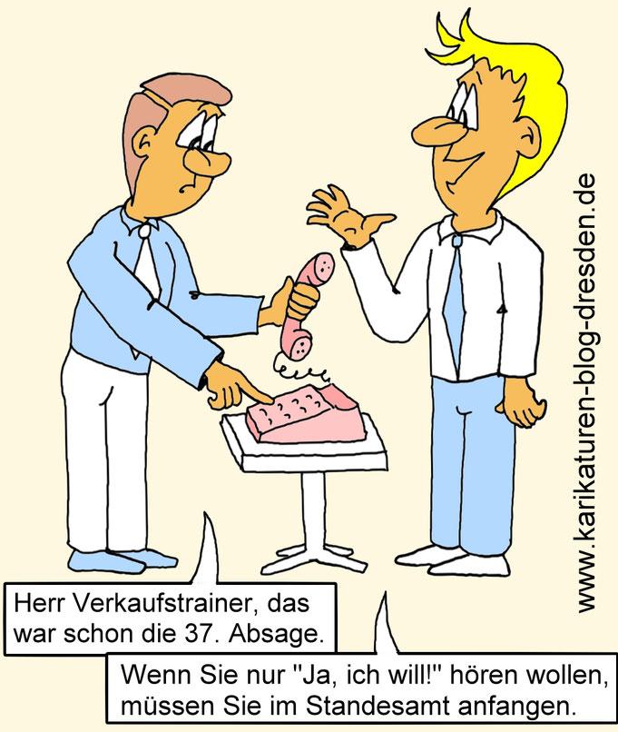 Karikatur Verkaufstrainer, Verkäuferwitz, Kaltakquise, Akquise, Verkauf, Telefonakquise