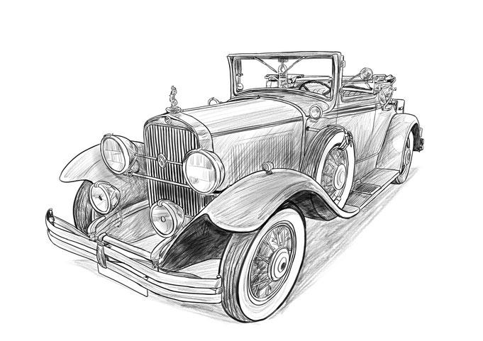 Auto Oldtimer Zeichnen Lassen Portrait Vom Foto Zeichnen